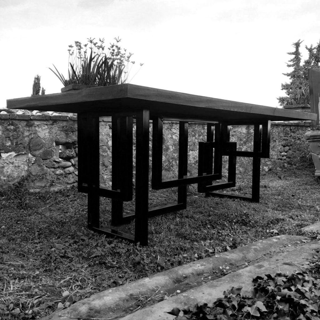 Diagramma - tavolo legno su acciaio verniciato  210x110